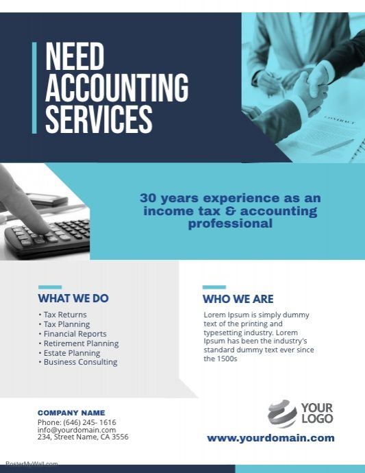 Accounting Services Flyer Poster Template Accounting Services Accounting Flyer Template