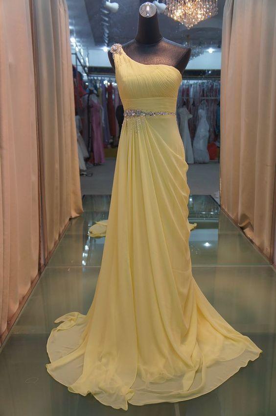 2012 new yellow shoulder evening dress of a elegant evening dresses