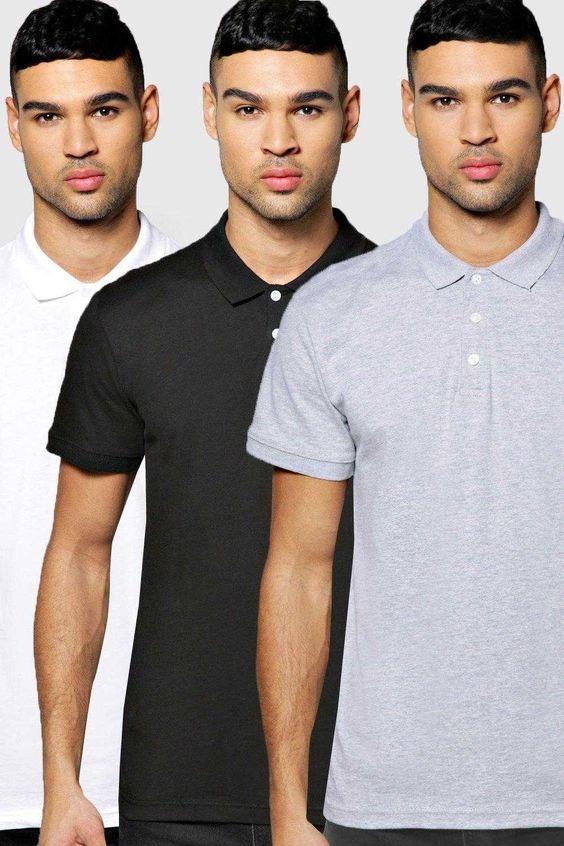 #FashionVault #boohoo #Men #Tops - Check this : boohoo 3 Pack Slim Fit Polos - multi for $ USD