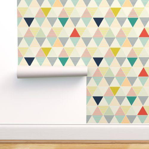 Modern Geometric Spoonflower Peel And Stick Wallpaper Wallpaper Panels Hexagon Wallpaper