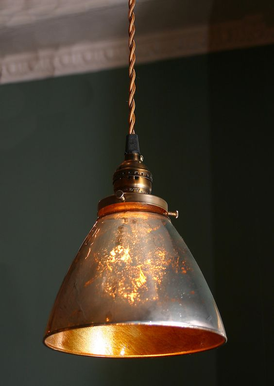 Custom Pendant Light with blown Mercury glass shade ...