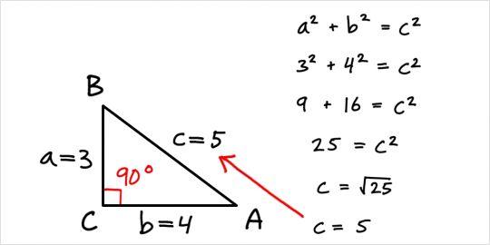 Pythagoras og siderne i den retvinklede trekant - Geometri - Trekanter - MatematikFessor