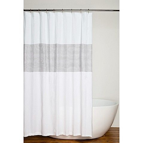A Touch Of Elegance Give Your Bath Decor A Fresh Natural Look With Nora Shower Curtain The With Images White Shower Curtain Striped Shower Curtains Long Shower Curtains