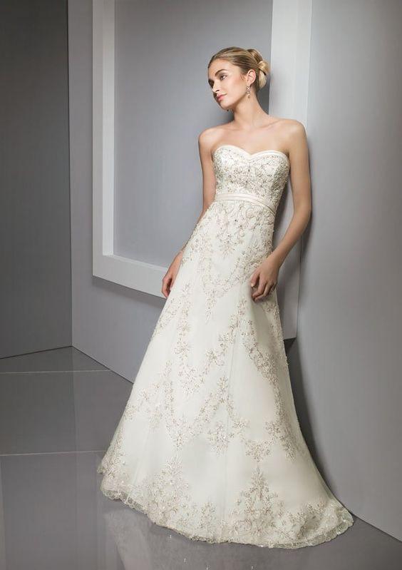 Gorgeous A line Strapless Appliqued Satin Designer Wedding Dresses