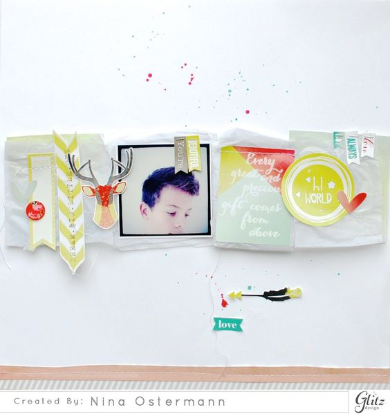#papercraft #scrapbook #layout.   Sparkle & Shine: Glitz Stickers – Nina Ostermann | Glitz Design