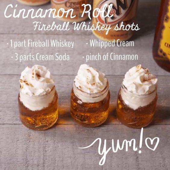 Cinnamon Roll Fireball Whiskey Shots!