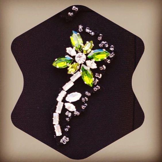 Svarowsky embroidered flower particular for Prada dress