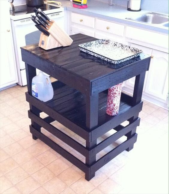 Kitchen Island Out Of Pallets: Recycled Pallet Kitchen Island Table Ideas
