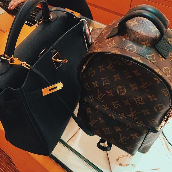 Louis Vuitton Monogram Backpack and Hermes Kelly bag