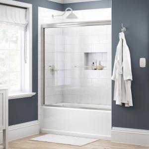 Delta Simplicity 60 In X 58 1 8 In Semi Frameless Traditional Sliding Bathtub Door In Nickel With Clear Glass 2435517 The Home Depot In 2021 Bathtub Doors Tub Doors Full Bathroom Remodel