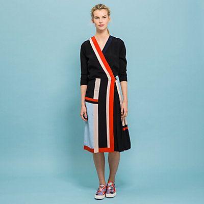 Robe portefeuille, 100% soie, coupe droite noir, orange