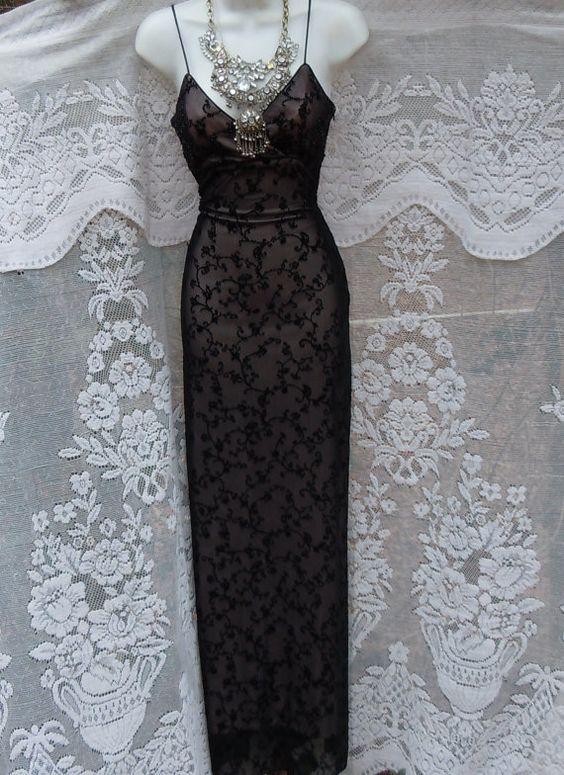 Black beaded dress vintage cocktail evening by vintageopulence