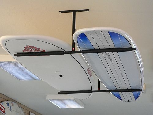 We have six surfboards that will now be out of the way!! Surfboard Ceiling Mount: