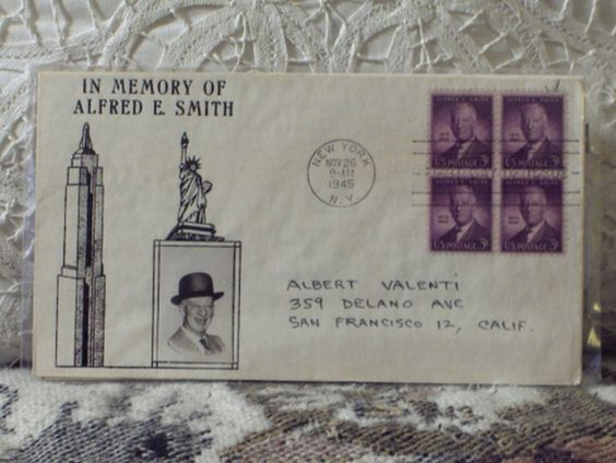 First Day Issue/Cover-Stamp-Alfred E. Smith 1945 3c