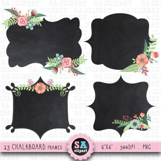 "Wedding Chalkboard Frame""WEDDING CHALKBOARD"" clip art,Vintage Flowers,Floral Frames,Digital Frames,Wedding Flora,Wedding invitation Wf002"