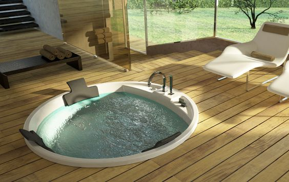 Really like the wood floor.  The tub could be better, a Redwood tub would be ideal