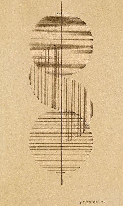 By Erich Borchert (1907-1944), 1928, Sowjetunion Geometrische Komposition, pen and India ink drawing. (Bauhaus)