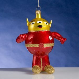 De Carlini Red Alien with 3 Eyes Christmas Ornament The Cottage Shop
