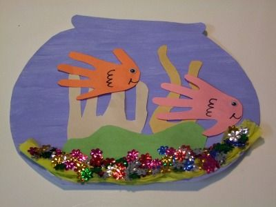 Handprint fish bowl this could be cute with every kids for Fish bowl craft