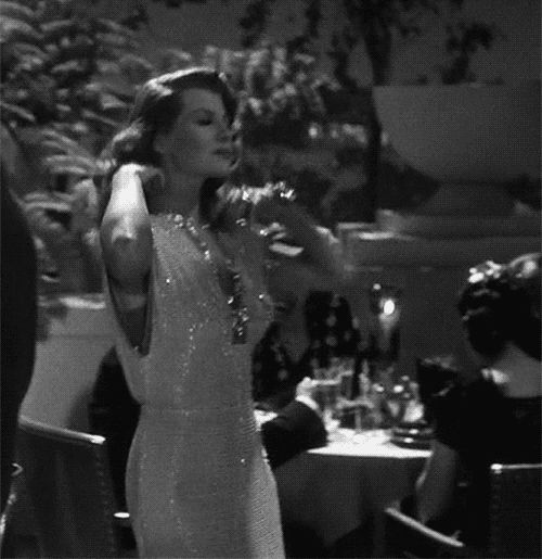 Rita Hayworth in Gilda, wearing one of the world's great glamour gowns. Oh how she wears gowns in this flick, one gobsmacker after another.: