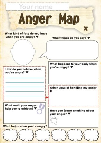 Anger Map- a fun tool to get to know a kid's triggers and what helps them calm down! - Re-pinned by @PediaStaff – Please Visit http://ht.ly/63sNt for all our pediatric therapy pins