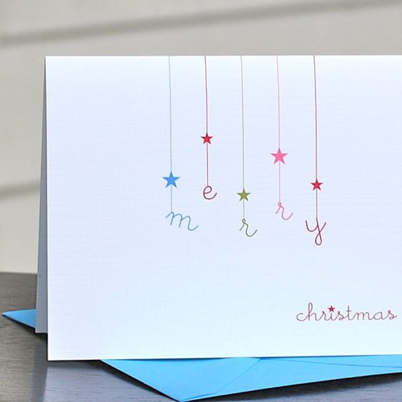 Carte de Noël simple épurée Christmas Cards / Holiday Cards / Personalized by sweetbellacards