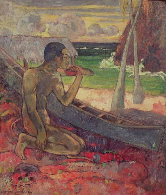 Canoe and fisherman.  Gauguin.