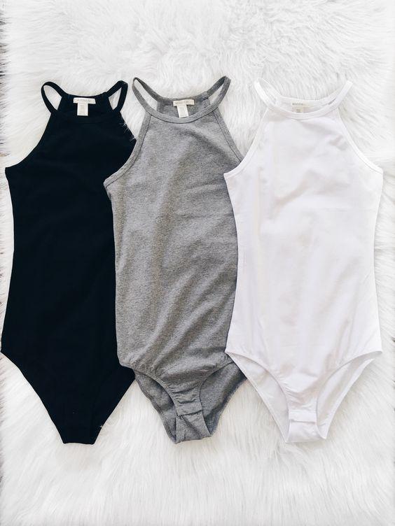 High Neck Cami Bodysuit (Black, Gray, White)