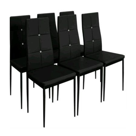 Dining Chairs Set Of 6 High Back Design With Heavy Duty Frame Pu