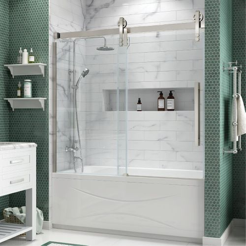 Ove Decors Sedona 78 75 In H X 58 1875 In To 59 375 In W Semi Frameless Bypass Sliding Satin Nickel Shower Door Clear Glass Lowes Com Shower Doors Bypass Sliding Shower Doors Shower Sliding Glass Door