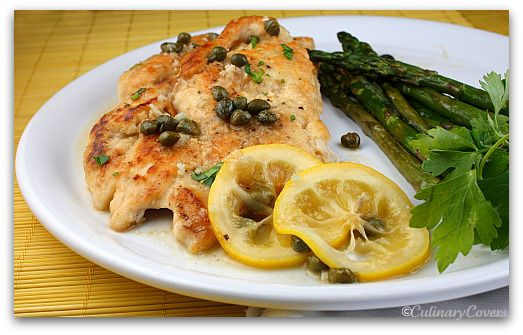 Low fat chicken piccata... love this recipe.