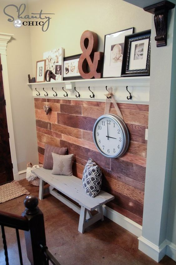 Painted Wood Plank Wall Reveal Coat Hooks Entrance And