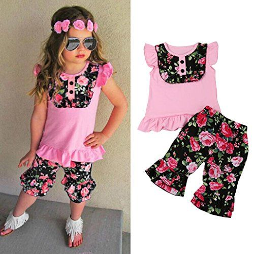 Kids Baby Girl Bow Lace Halter Striped T Shirt Tops+Pants Outfit Clothes Set