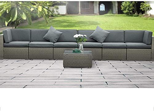 Anbuy 7pcs Patio Furniture Set Outdoor Conversation Sectional Sets All Weather Wicker Rattan Seating Sofa With Teatable Washable Couch Cushions Gray Rattan Gard In 2021 Rattan Garden Furniture Sets Grey Rattan Garden Furniture Patio conversation sets under 500