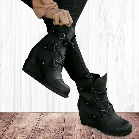 Wedge Mid Waterproof Leather Boots