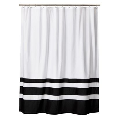 Color Block Shower Curtain Black White Threshold Black And White Tiles Target And Bath
