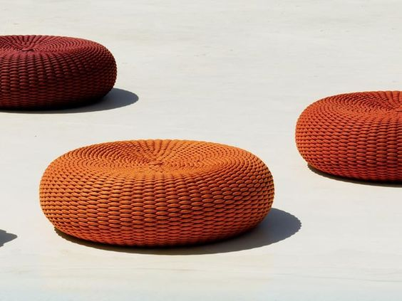 Really cool outdoor pouf with hand woven upholstery cover. Structure made  of water repellent polyurethane