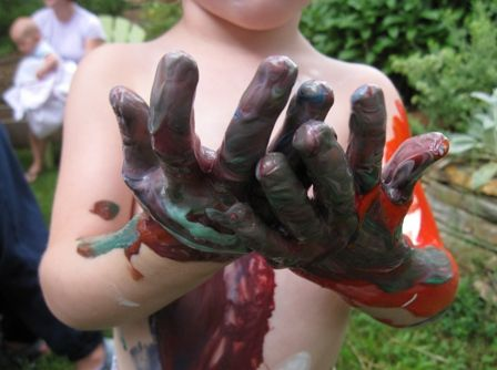 Body painting for kids (good outdoor summer activity - clean off in the kiddie pool or under the hose afterward)