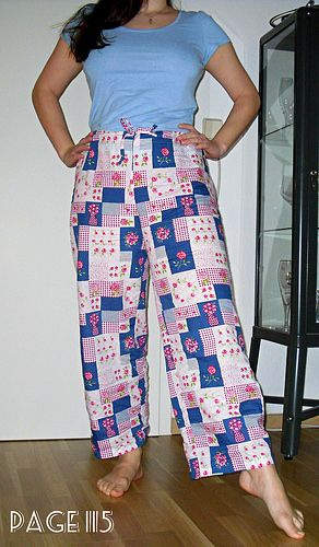 Margot pyjama bottoms made with a pattern from the book 'Love at first Stitch'