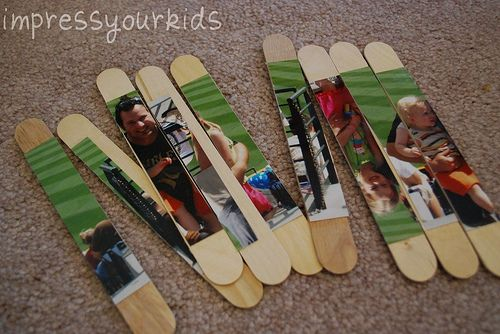 Picture puzzle on popsicle sticks