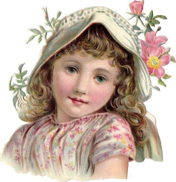Oblaten Glanzbild scrap Kind    11,5cm  Mädchen Hut Blumen