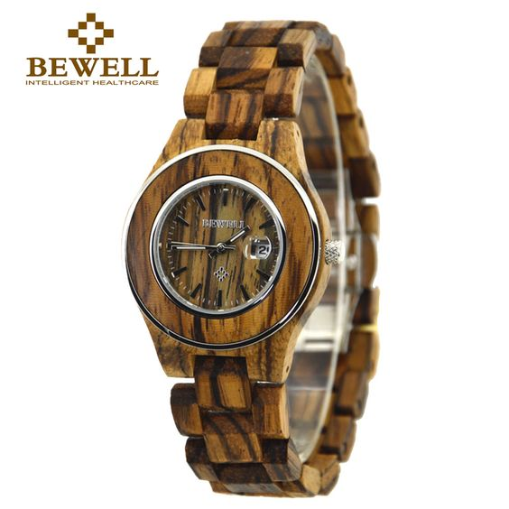 US $65.00 - BEWELL Zebra Wood Watches for Women Analog Display Date sports Quartz Watches Women's Clock Relogio Masculino With Box 100AL