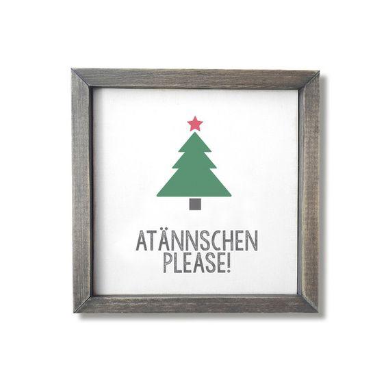 Ein augenzwinkerndes Statement für die weihnachtliche Dekoration. Ein ständiges Lächeln ist garantiert.  Weihnachtsbild aus Holz von Leichtigkeit und Liebe - BILDER FÜR RAUM & SEELE auf DaWanda.com
