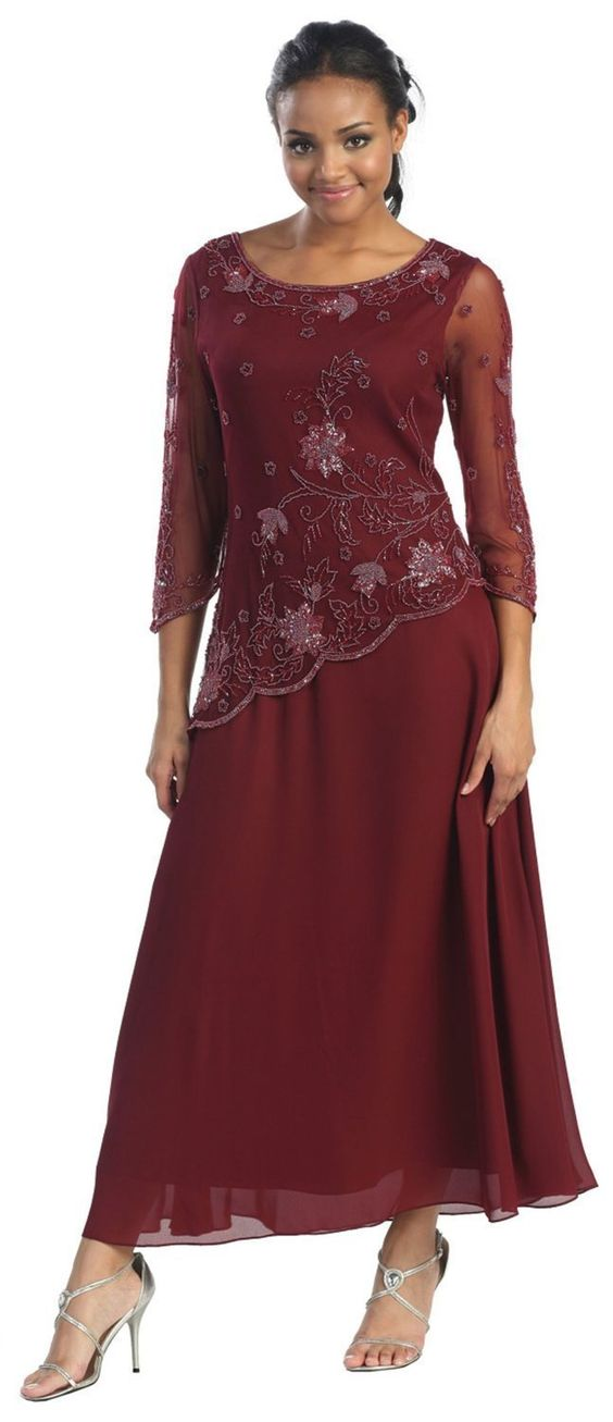 Long Burgundy Party Dress for Women Over 50 - Fashion for Women ...
