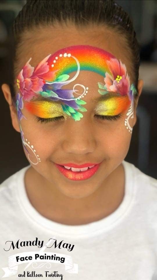 Flower Face Paint : flower, paint, Mask:, Crown:, Rainbow:, Flowers:, Painting, Flowers,, Painting,, Designs