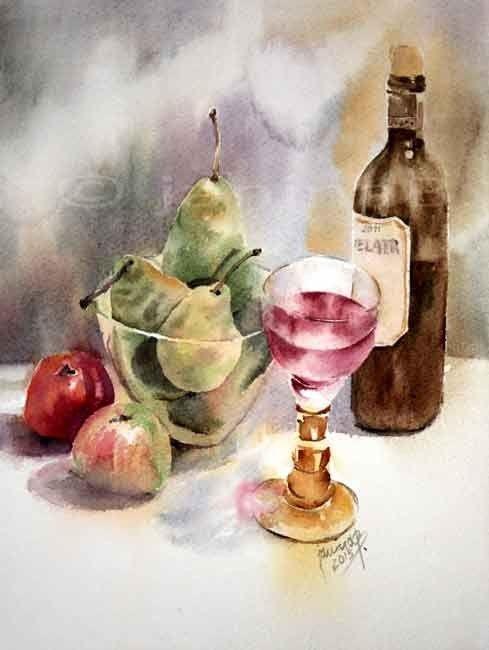 Stillleben mit Omas Weinglas und Obst / Aquarell 31x23cm auf Arches