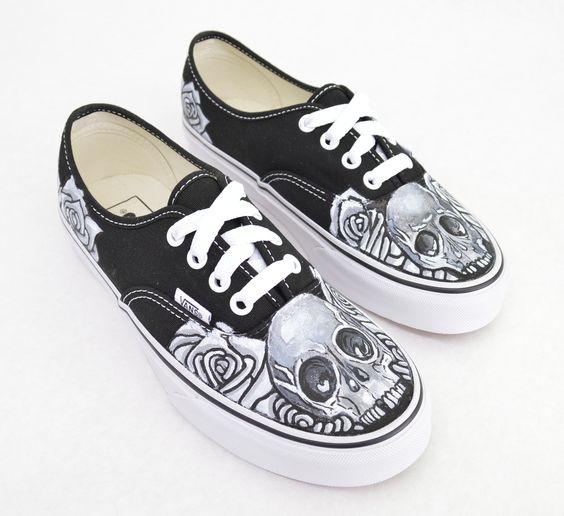 vans black and white skull slip-ons