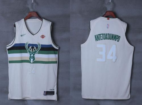 Men 34 Giannis Antetokounmpo City Jersey White Milwaukee Bucks Player Jersey