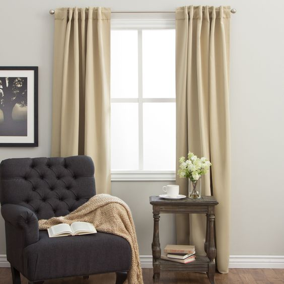 Arlo Blinds 64-inch Insulated Back Tab Blackout Curtain Panel Pair ...