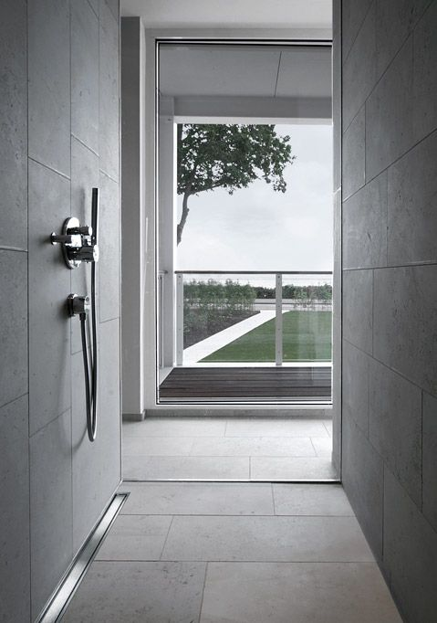 Badrum badrum panel : Beautiful bathroom installed with unidrain® HighLine Panel | Line ...